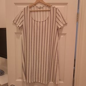 Unworn shift dress with blue and red stripes